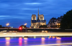 The Notre Dame cathedral at night, Paris, France. Royalty Free Stock Photo