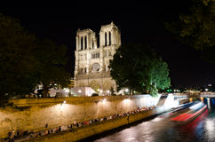 Notre Dame Cathedral at night – Paris, France Royalty Free Stock Image