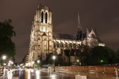 The Notre Dame cathedral at night, Paris. Royalty Free Stock Photo
