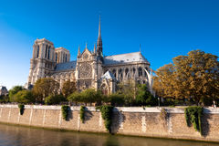 Notre Dame cathedral in Paris. Side view of Notre Dame cathedral, in Paris Royalty Free Stock Photos