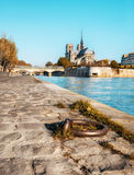 Notre-Dame Cathedral of Paris on a bright day in Autumn Royalty Free Stock Images