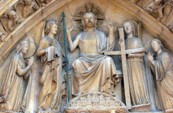 Notre Dame Cathedral, Paris, Christ in Majesty. Notre Dame Cathedral, Paris Last Judgment Portal: Christ in Majesty Stock Photos