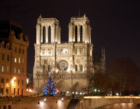 Notre Dame Cathedral in Paris. Christmas tree in front of Notre Dame Cathedral in Paris, France Stock Photo