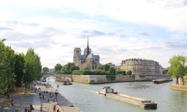 Notre Dame Cathedral with Paris cityscape panorama Royalty Free Stock Photography