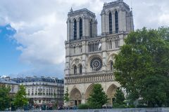 Notre Dame Cathedral in Paris. Notre-Dame de Paris Cathedral from outside in Paris stock image