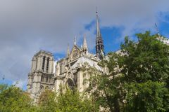 Notre Dame Cathedral in Paris. Notre-Dame de Paris Cathedral from outside in Paris stock images