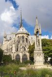 Notre Dame Cathedral in Paris. Notre-Dame de Paris Cathedral from outside in Paris stock photo