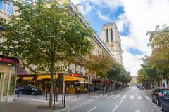 Notre Dame Cathedral in Paris. Notre-Dame de Paris Cathedral from outside in Paris stock photography
