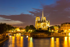 Notre Dame Cathedral Paris dusk Royalty Free Stock Image
