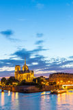 Notre Dame Cathedral Paris dusk Stock Photography