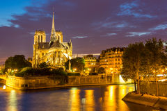 Notre Dame Cathedral Paris dusk Royalty Free Stock Images