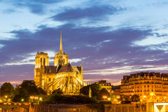 Notre Dame Cathedral Paris dusk Stock Photos