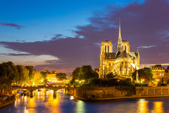 Notre Dame Cathedral Paris dusk Stock Images