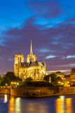 Notre Dame Cathedral Paris dusk Stock Photo