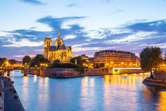 Notre Dame Cathedral Paris dusk Stock Image