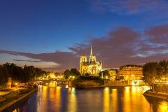 Notre Dame Cathedral Paris dusk Stock Photo