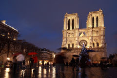 Notre Dame Cathedral in Paris on evening. Stock Images