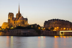 Notre Dame cathedral in Paris in the evening Stock Images