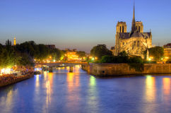 Notre Dame cathedral in Paris in the evening Stock Photography