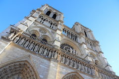 Notre-Dame Cathedral of Paris. Facade of the Notre-Dame cathedral of Paris Stock Image