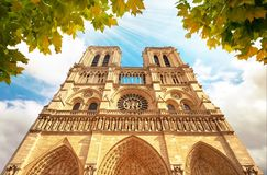 Notre-Dame Cathedral in Paris France with Golden Light Rays. Notre Dame in Paris France. Notre Dame Cathedral with Golden Light Rays and Beautiful Gothic royalty free stock photos