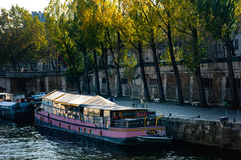 Notre Dame Cathedral, Paris. Paris, France. November 14, 2005. Floating bar on the Seine Stock Photo