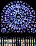 Notre Dame Cathedral, Paris. Paris, France. November 14, 2005. Rose window, Notre Dame cathedral from inside Stock Photo