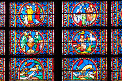Notre Dame Cathedral, Paris. Paris, France. November 14, 2005. Stained glass window, Notre Dame cathedral from inside Royalty Free Stock Images