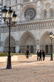 Notre Dame Cathedral, Paris. Paris, France. November 14, 2005. Tourists outside Notre Dame Cathedral Royalty Free Stock Photography