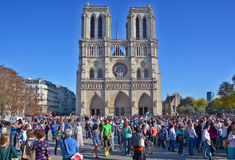 The Notre Dame cathedral of Paris Stock Images