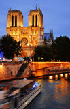 Notre-Dame Cathedral in Paris, France after sunset Stock Photography