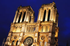 Notre-Dame Cathedral in Paris, France after sunset Royalty Free Stock Images