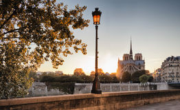 Notre Dame cathedral in Paris, France. Notre Dame cathedral at sunset in Paris, France stock images