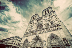 Notre Dame Cathedral in Paris, France. Vintage Stock Photo