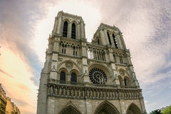 Notre dame cathedral in Paris, HDR. Front side of Notre dame cathedral after sunset shot in HDR Royalty Free Stock Image
