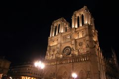 Notre Dame Cathedral in Paris and its lighting at night stock photography