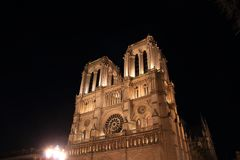 Notre Dame Cathedral in Paris and its lighting at night stock photos