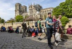 Notre Dame Cathedral in Paris nach dem Feuer lizenzfreie stockfotos