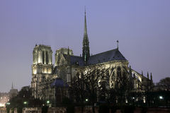 Notre Dame cathedral in Paris at night Royalty Free Stock Photo