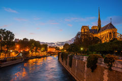 Notre Dame Cathedral in Paris at night Royalty Free Stock Image