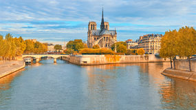 Notre-Dame cathedral in Paris, panoramic image Royalty Free Stock Photo