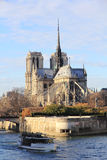 Notre-Dame Cathedral of Paris. The Seine and the Notre-Dame cathedral of Paris Stock Photos