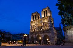 Notre Dame Cathedral lit up at night stock images