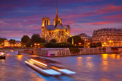 Notre Dame cathedral Paris sunset at Seine Royalty Free Stock Photos