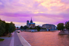 Notre Dame cathedral Paris sunset at Seine Royalty Free Stock Images