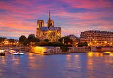 Notre Dame cathedral Paris sunset at Seine Royalty Free Stock Image