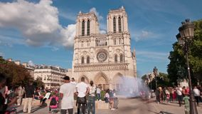 Notre Dame cathedral in Paris. A time lapse view of the Notre Dame church in Paris stock video