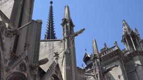 Notre Dame Cathedral Paris, turistas de la gente que visitan la iglesia, turismo céntrico almacen de video