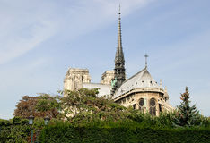 Notre Dame cathedral in Paris. View of Notre Dame Cathedral in Paris from behind Royalty Free Stock Photography