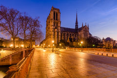 Notre Dame Cathedral and Pont au Double at Dawn, Paris, France Stock Photos